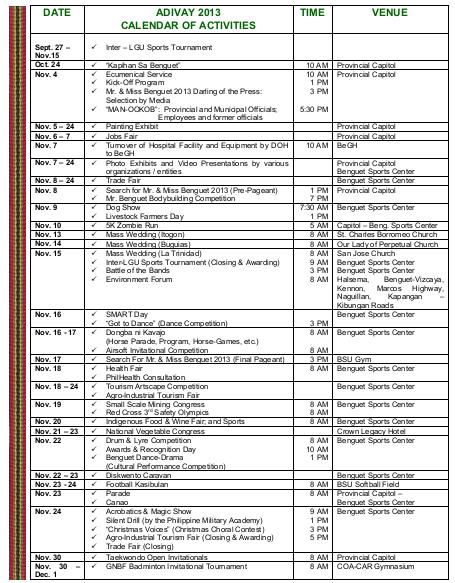 adivay 2013 activities